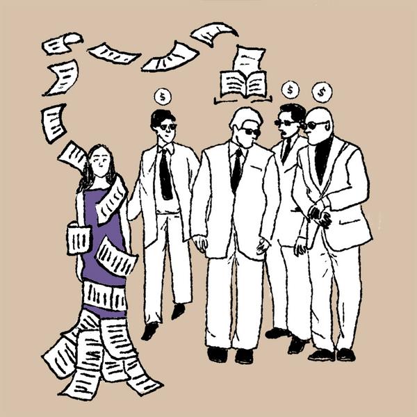 Ilustraciones con hombres hablando y una mujer a un costado siendo envuelta y tapada por las hojas que salen de la charla de los hombres