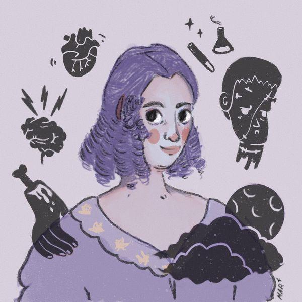 retrato de Mary Shelley rodeada de objetos magicos